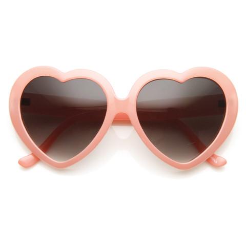 Cute Womens Pastel Color Heart Shape Oversize Sunglasses 8183                           | zeroUV