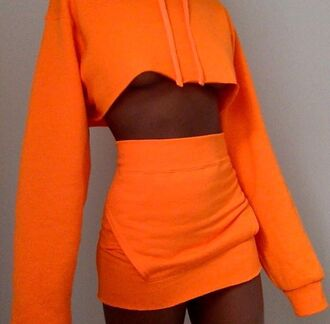 sweater two-piece sweatshirt orange orange two piece cute bomb pretty darkskin beautiful blouse skirt orange skirt solid orange tank top orange jacket orange top