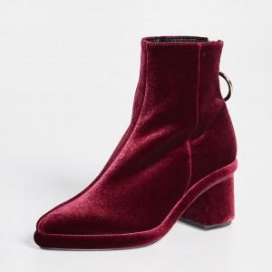 Burgundy Velvet Boots Pointy Toe Back Zipper Block Heel Ankle Boots