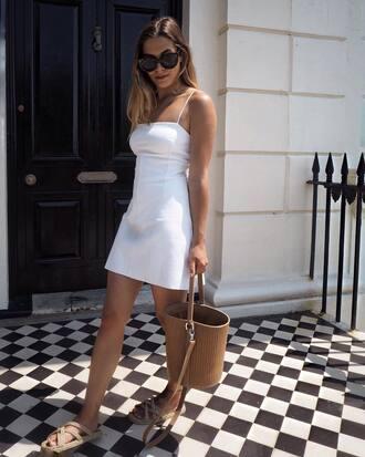 shoes tumblr nomadic state of mind sandals flat sandals bag bucket bag dress mini dress white dress slip dress sunglasses