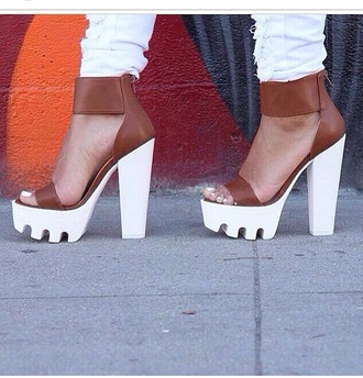 shoes heels chunky sole white jeans jeans ripped jeans high heels