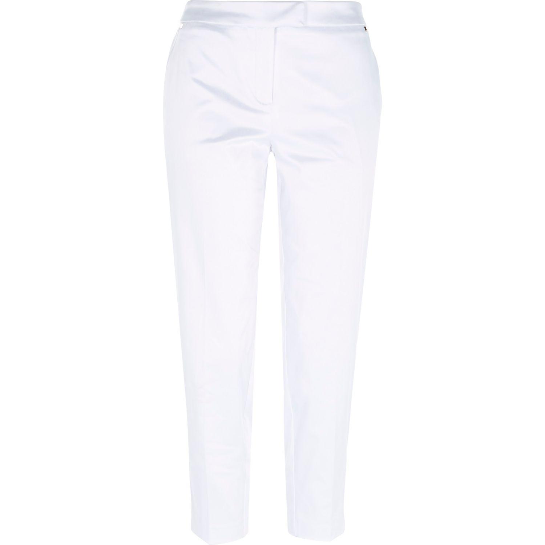 White satin cropped cigarette pants