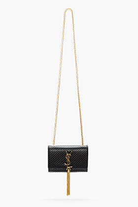 Saint Laurent Black Leather Tasseled Cassandre Shoulder Bag for women | SSENSE