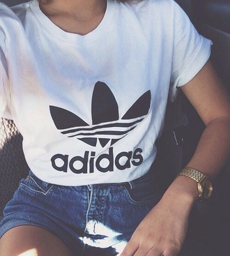 t-shirt adidas white t-shirt adidas t-shirt women shorts ehite logo hipster grunge brand shirt adidas shirt black and white top white summer style girly chic jewels t shirt print black tumblr outfit clothes adidas originals