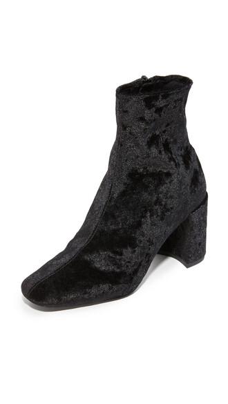 booties black velvet shoes
