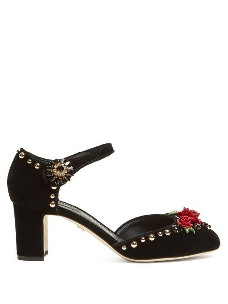 Dolce & Gabbana - Crystal Embellished Mary Jane Velvet Pumps - Womens - Black