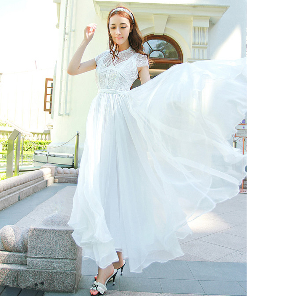 2pc summer seaside resort beach skirt Bohemian dress is pure white dress ladies chiffon full dress long design thin skirt free-in Dresses from Apparel & Accessories on Aliexpress.com