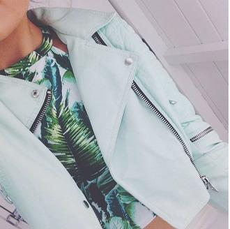 jacket light blue light green mint beautiful pretty tank top top blue jacket blazer jacket palm tree print