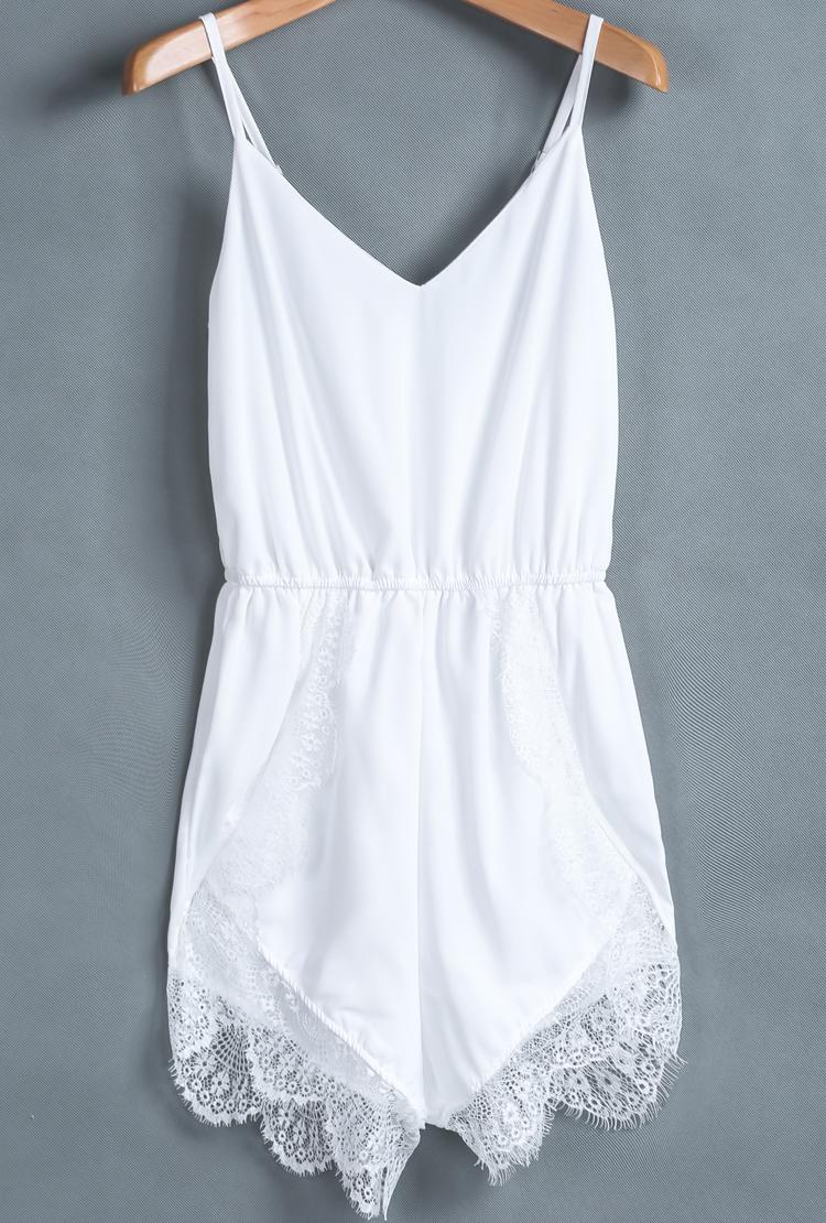 White Spaghetti Strap Lace Chiffon Jumpsuit - Sheinside.com