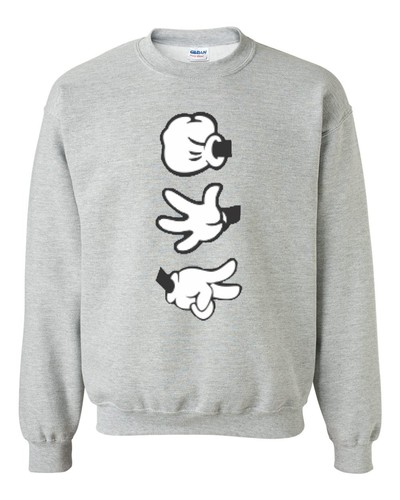 "Mickey Hands "" Rock Paper Scissors "" Crewneck Sweatshirt Rock Grey Sweater 