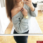 blouse,sweater,off the shoulder,grey,grey sweater,trendy