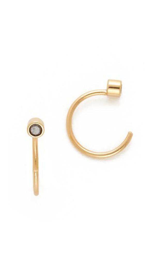 Zoe Chicco Diamond Reversible Open Hoop Earrings in black / gold