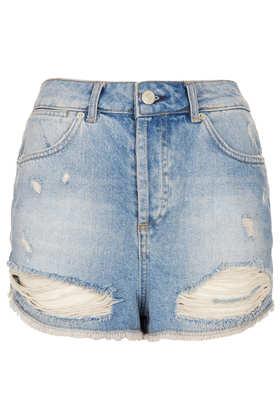 MOTO Bleach Rip Hotpants - Topshop