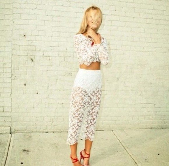 two piece skirt white lace skirt crop-tops lace crop top lace white two piece blouse