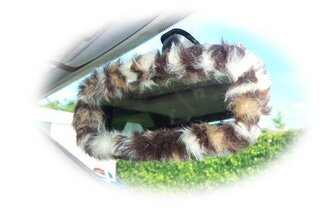 home accessory mirror cover animal print wild car accessories fluffy leopard print faux fur