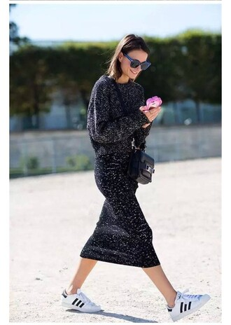 skirt knitted skirt black skirt midi skirt sweater black sweater sneakers white sneakers low top sneakers adidas adidas shoes adidas superstars sunglasses blue sunglasses fashion vibe streetstyle blogger bag proenza schouler black bag fall outfits shoes