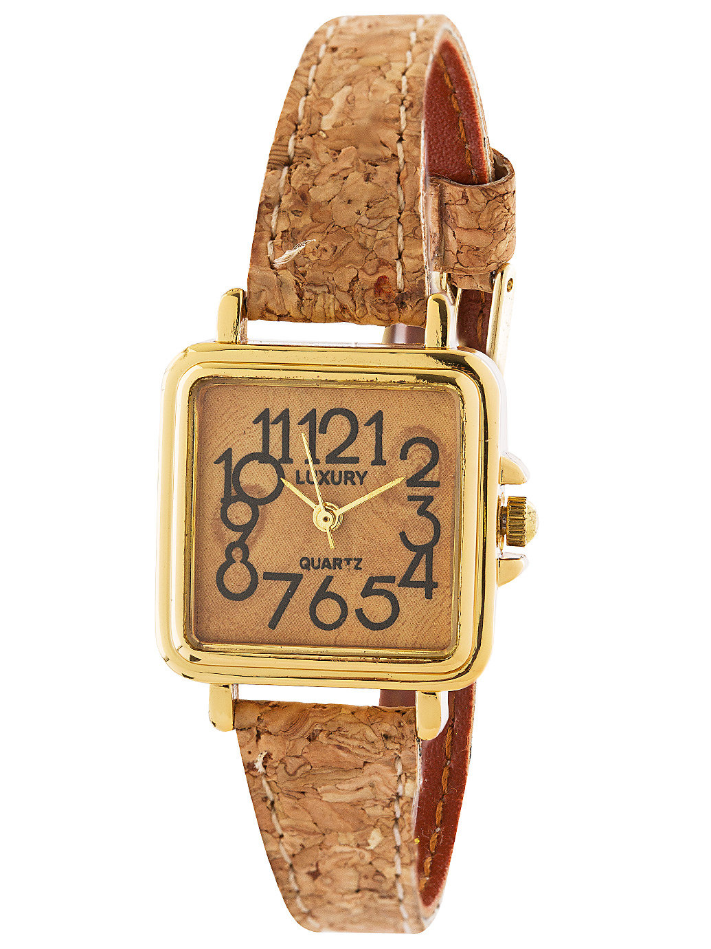 Luxury Square Cork Ladies Analog Watch | American Apparel