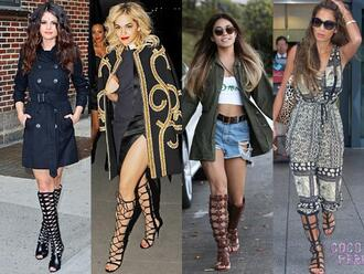 shoes knee high sandals gladiator knee boots leather boot knee high boots roman edgy slick celebrities photo op tough rough designer editorial fashionista hardcore