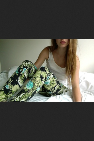 pants hipster jeans tumblr floral jungle nature girly skinny pants dye
