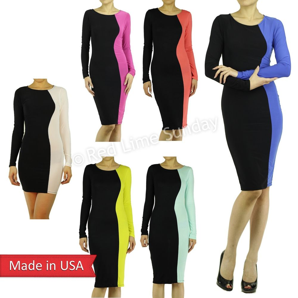 Two Tone Psychedelic Color Block Soft Lightweight Knee Length Bodycon Dress USA