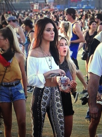 top kylie jenner crop tops boho gypsy gypsy-style top floaty top white hippie coachella colorful pants