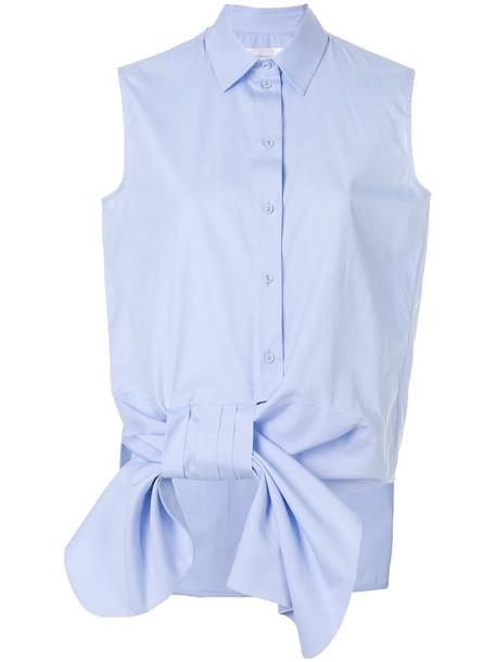 Victoria Victoria Beckham shirt bow sleeveless women cotton blue top
