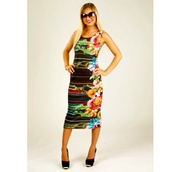 midi dress,midi,dress,tropical,colorful,orange dress,green dress,black dress,black,bodycon dress,gorgeous