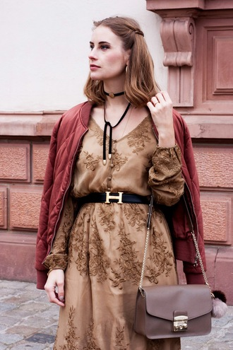 dress tumblr brown dress brown long sleeves long sleeve dress fall dress fall outfits embroidered embroidered dress bag grey bag chain bag belt jacket red jacket bomber jacket