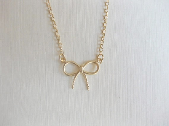 Dainty bow 14K gold filled necklace perfect for by Lookatmeshop