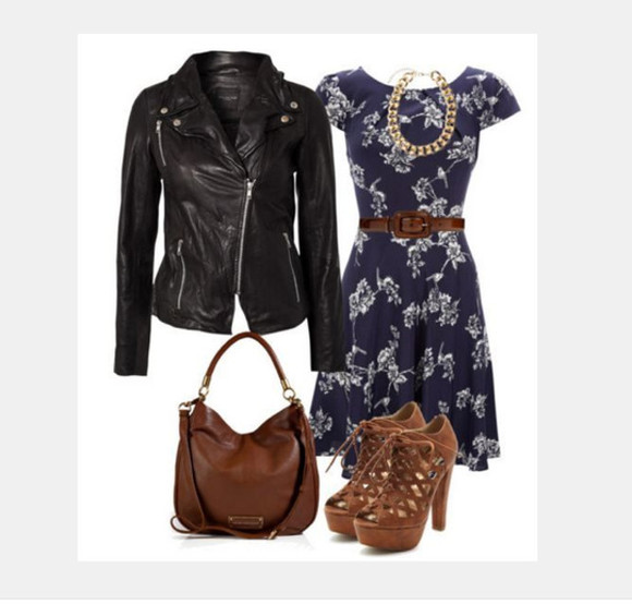 dress clothes outfit bag necklace floral dress jacket medium dress short sleeve loose dress navy dress leather jacket black leather jacket purse shoes high heels woven heels floral pattern