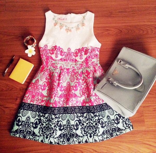 oasap oasap_fashion dress skirt floral floral dress vintage necklace top clothes shirt bag clutch handbag outfit fashion jewels accessories