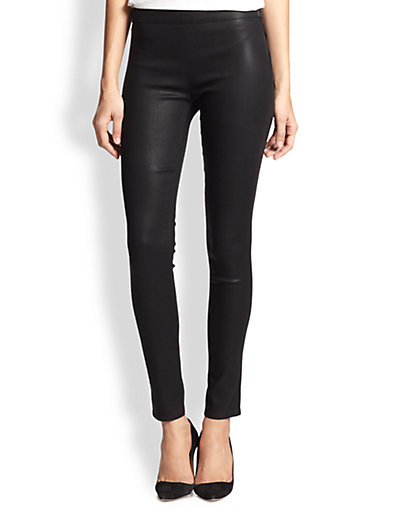J Brand - Side-Zip Stocking Leather-Effect Leggings - Saks.com