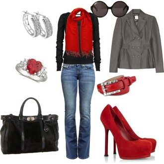scarf red black casual hot preppy jewelry purse heels heart top jacket jewels