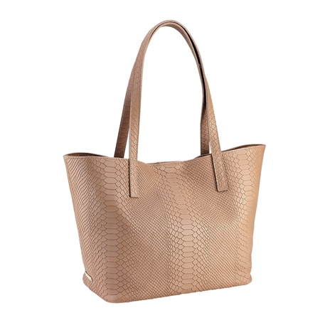Sand Teddie Tote | Embossed Python Leather | GiGi New York