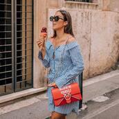 dress,mini dress,button up,striped dress,crossbody bag,black sunglasses