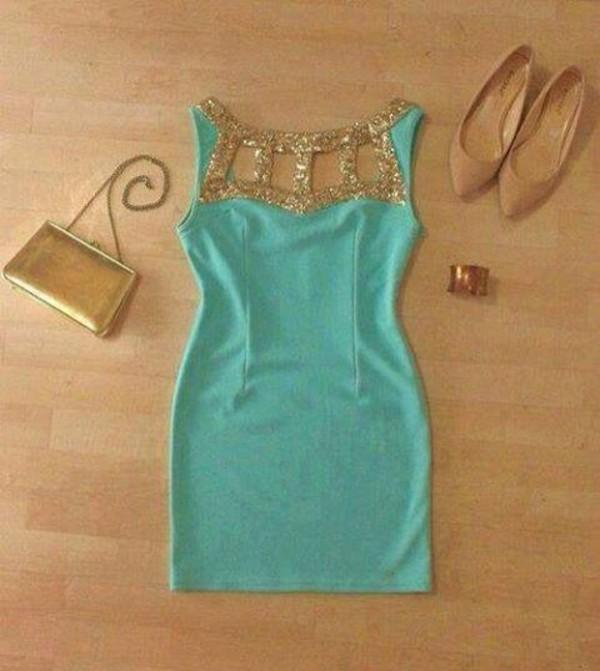 dress gold blue dress turquoise glitter dress