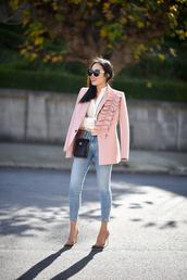 jacket,tumblr,pink jacket,pink blazer,white shirt,shirt,bag,black bag,mini bag,denim,jeans,blue jeans,cropped jeans,work outfits,office outfits,skinny jeans,sunglasses,pumps,pointed toe pumps,high heel pumps