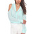 Blue Three-Quarter/Long Sleeve Top - Mint Semi Sheer Blouse with | UsTrendy