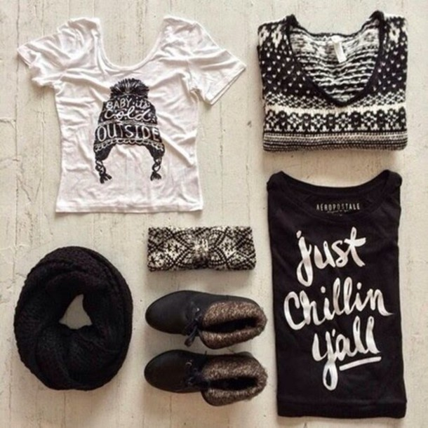 t-shirt sweater scarf shoes shirt