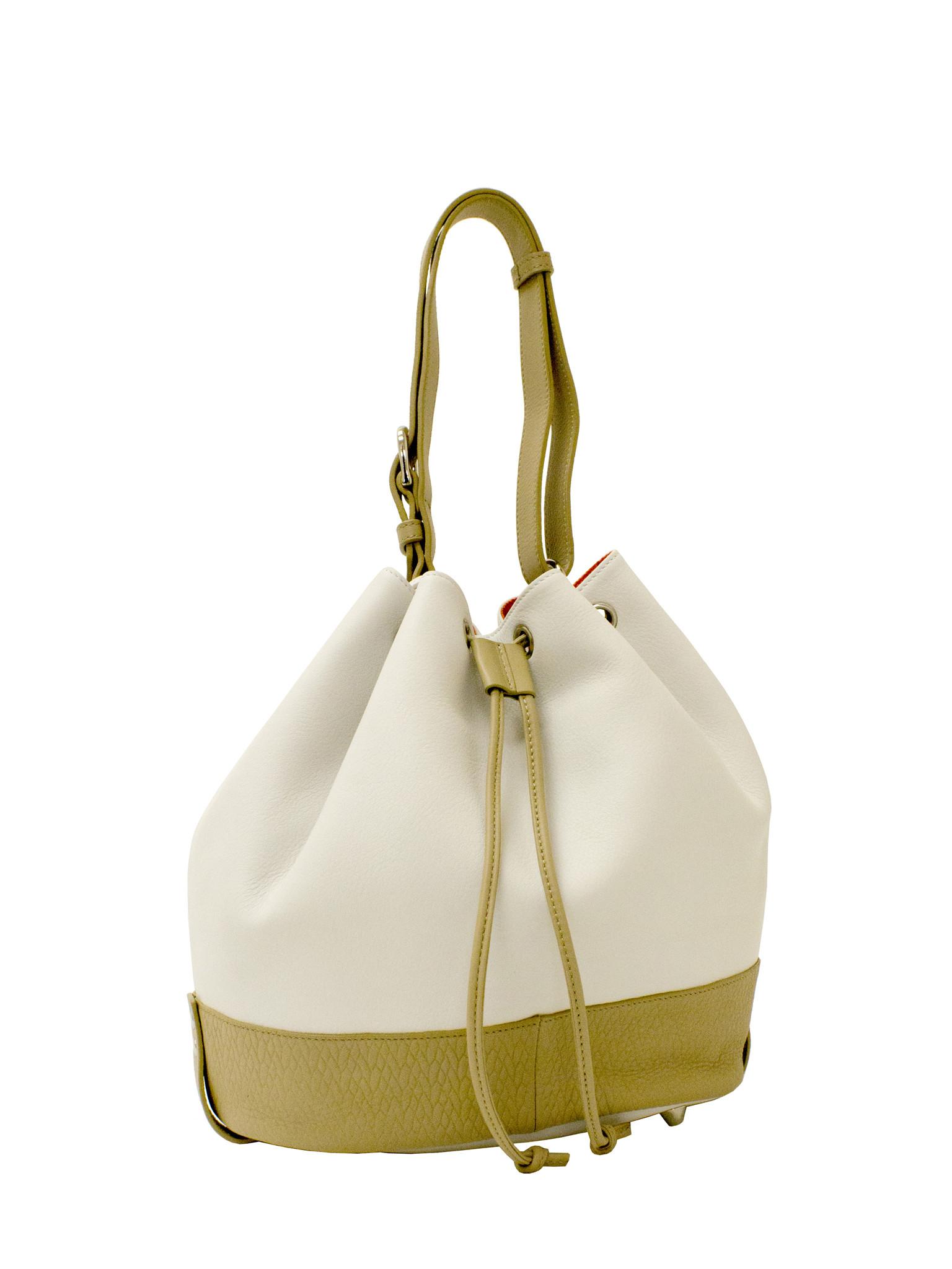 e5de7df7e86 SOPRANO Pebble Leather Colour Block Bucket Bag   Soprano Handbags