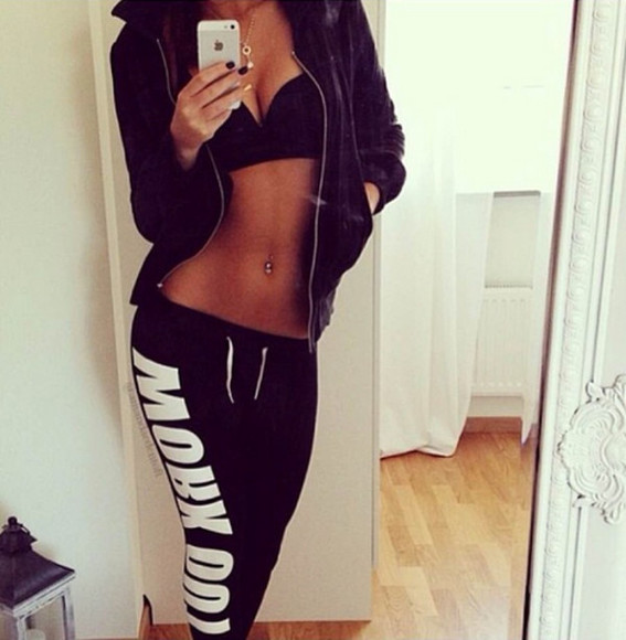 pants black jogging white swaet pants work out sexy