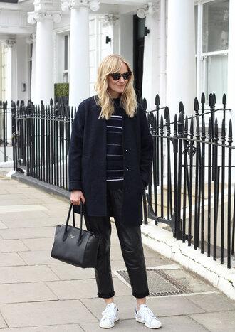 blame it on fashion blogger coat striped sweater black bag leather pants