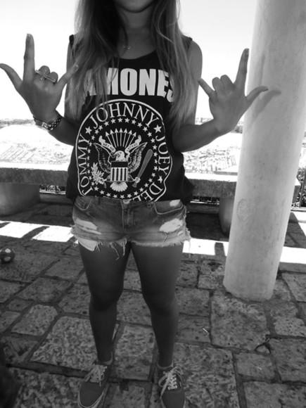 t-shirt girl punk rock girly shoes vans ripped ramones
