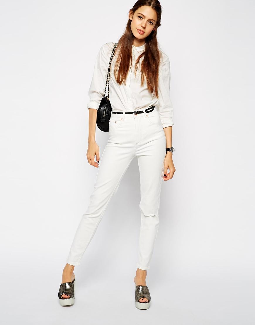 ASOS Farleigh High Waist Slim Mom Jeans In Off White at asos.com