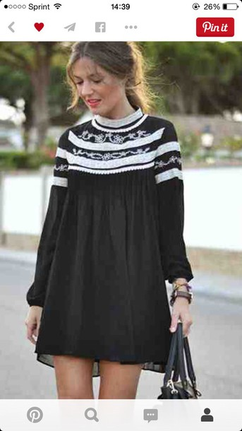 dress black dress long sleeve dress white collar flowy dress cute black white embellished dress