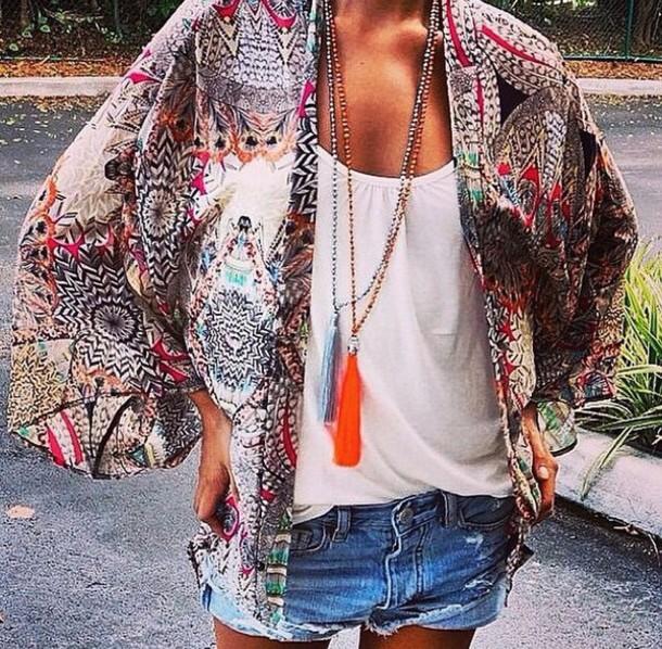 cardigan kimono floral pom poms print fashion summer aztec navajo ethnic multicolor geimetric