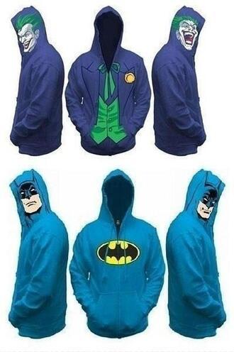 jacket sweater zip batman hood blue