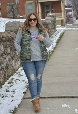 mommyinheels blogger jacket sweater jeans shoes vest camo jacket grey sweater boots ugg boots