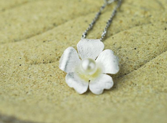 simple jewels flower pendant necklaces handmade silver