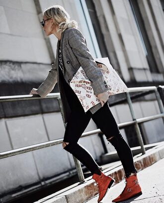 happily grey blogger jacket t-shirt shoes bag blazer ankle boots red boots
